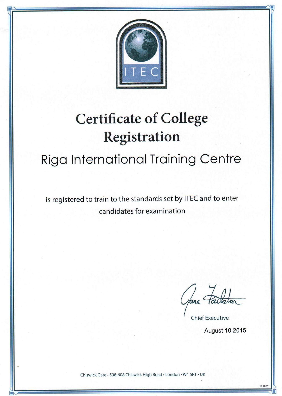 Rīgas starptautiskais mācību centrs - ITEC sertifikāts